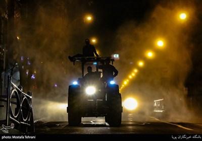 ضدعفونی معابر عمومی توسط بسیجیان