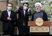 حجتالاسلام حسن روحانی رئیس جمهور و اسحاق جهانگیری معاون اول رئیس جمهور در حاشیه آخرین جلسه هیئت دولت در سال ۹۸