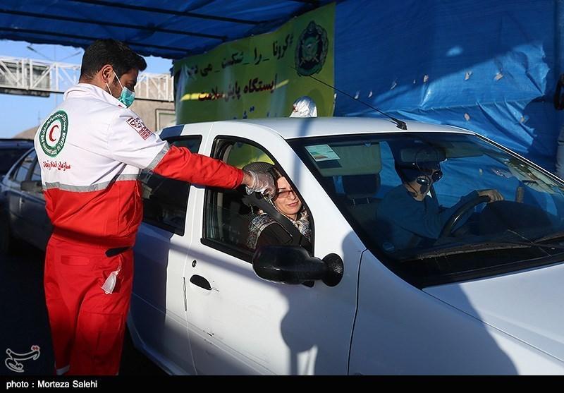 غربالگری کرونا و ضدعفونیکردن خودروها در پلیسراه اصفهان+ تصاویر
