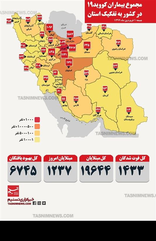 اینفوگرافیک/ مجموع بیماران کویید 19 (کرونا) در کشور به تفکیک استان / جمعه یکم فروردین 1399