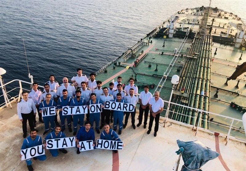 """پیام کرونایی دریانوردان ایرانی؛ """"ما در کشتی میمانیم، شما در خانه بمانید"""""""