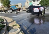 تیمهای منطقه دوم دریایی سپاه شهرهای استان بوشهر را علیه ویروس کرونا ضدعفونی کردند