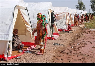 اسکان موقت سیلزدگان در روستای تکل حسن رودبار -کرمان