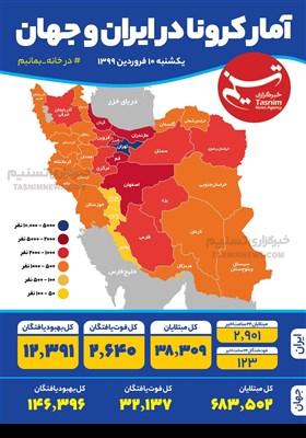 اینفوگرافیک/ آمار کرونا در ایران و جهان / یکشنبه 10 فروردین 1399