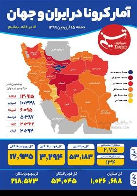اینفوگرافیک / آمار کرونا در ایران و جهان / جمعه 15 فروردین 1399