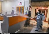 ضدعفونی بیمارستان های تهران توسط بسیجیان