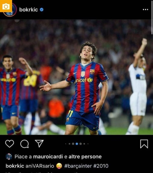 تیم فوتبال اینتر , تیم فوتبال بارسلونا , مائورو امانوئل ایکاردی , لیگ قهرمانان اروپا ,