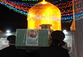 تشییع غریبانه شهید مدافع حرم محمد فیضی در حرم مطهر رضوی