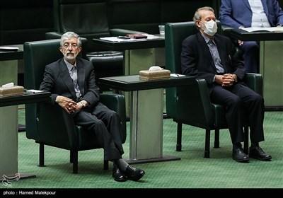 علی لاریجانی و غلامعلی حدادعادل در مراسم افتتاحیه یازدهمین دوره مجلس شورای اسلامی