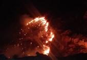 بوشهر| ارتفاعات جنگلی منطقه بوشکان دشتستان همچنان در آتش میسوزد