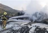 تصادف 2 تانکر سوختی موجب حریق در محور بندرعباس- بندرخمیر شد