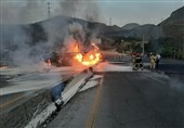 واژگونی و آتشسوزی تانکر سوخت در جاده دماوند + فیلم و تصاویر