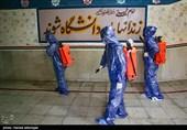 ضد عفونی راهروهای ندامتگاه تهران بزرگ در روزهایی کرونایی برای جلوگیری از شیوع کویید19