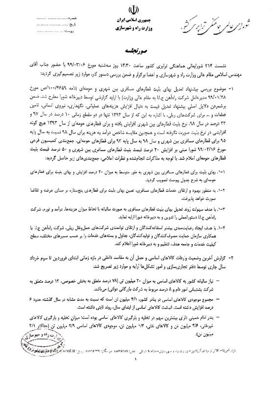 ویروس کرونا , راه آهن جمهوری اسلامی ایران ,