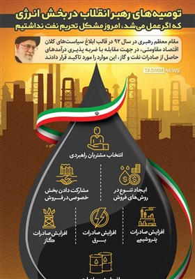 اینفوگرافیک/7 توصیه امام خامنهای در بخش انرژی که اگر عمل میشد، امروز مشکل تحریم نفت نداشتیم