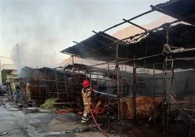 ۳۲ غرفه در بازار گل آتش گرفت + تصاویر