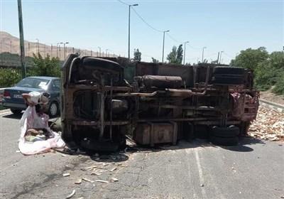 تصادف خونین ۴ خودرو در بزرگراه شهید یاسینی + تصاویر