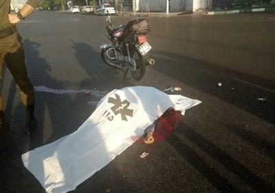 تصادف مرگبار موتورسیکلت با اتوبوس BRT + تصاویر