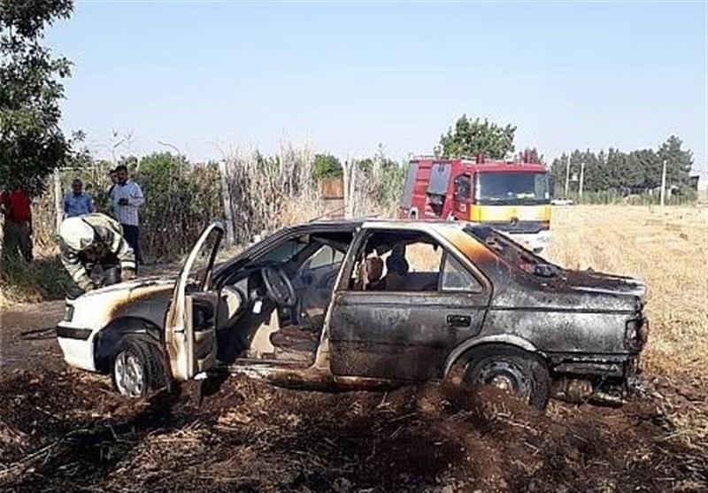 آتشسوزی گندمزار منجر به آتش گرفتن پژوپارس شد + تصاویر