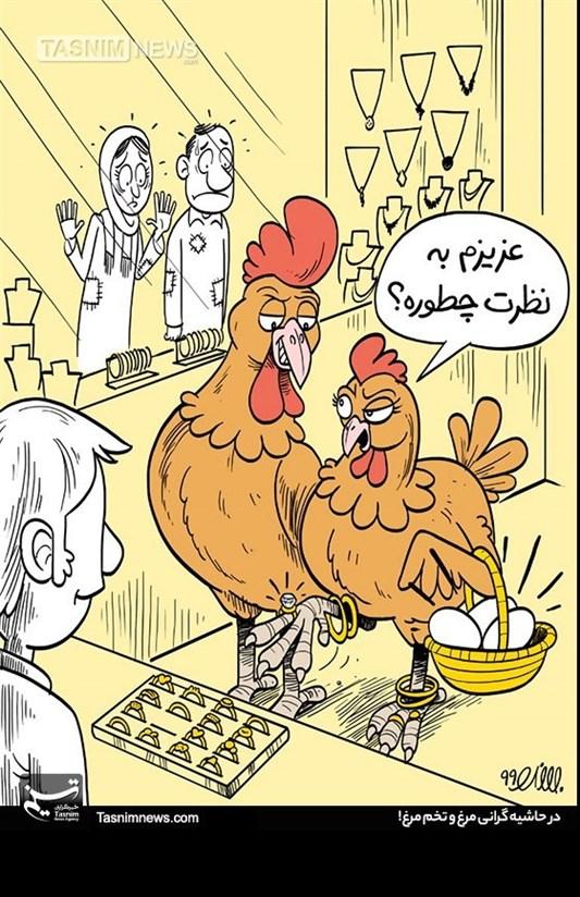 کاریکاتور/ در حاشیه گرانی مرغ و تخم مرغ / سبد غذایی قشر ضعیف هر روز خالیتر میشود