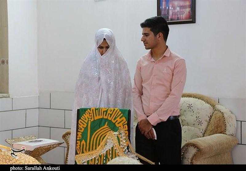کرمان  آغاز زندگی مشترک زوج جوان هیئتی زیر سایه پرچم حرم رضوی + تصاویر