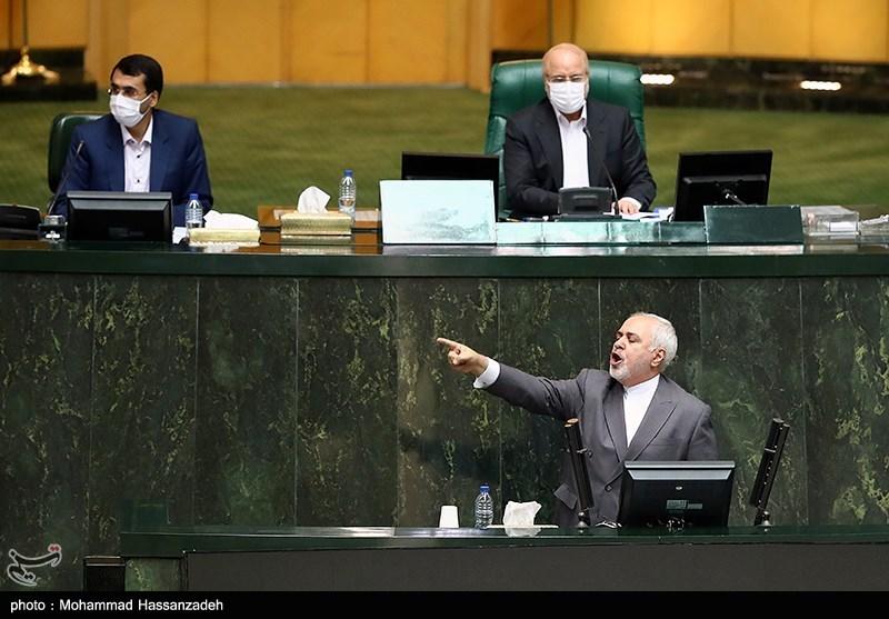 محمدجواد ظریف وزیر امورخارجه در جلسه علنی مجلس شورای اسلامی