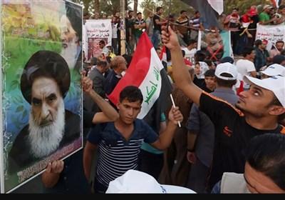 تظاهرات مردم خشمگین عراق در محکومیت توهین رسانه سعودی به مرجع عالی شیعیان