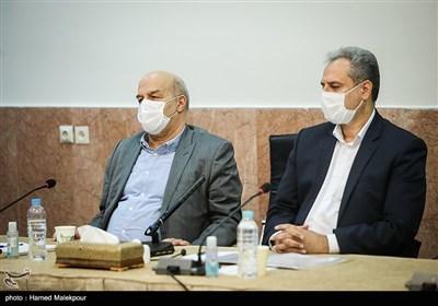 کاظم خاوازی وزیر جهاد کشاورزی و عیسی کلانتری رئیس سازمان حفاظت از محیط زیست در جلسه شورای عالی حفظ حقوق بیتالمال