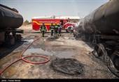 میزان خسارات حادثه آتشسوزی خودروهای سنگین کرمانشاه همچنان نامشخص است