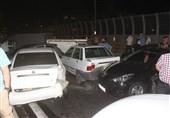 تصادف زنجیرهای 11 خودرو در محور مشهد به گلبهار
