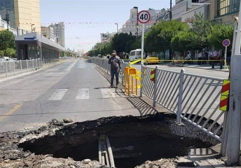 زمین در مسیر ایستگاه قطار شهری مشهدمقدس نشست کرد
