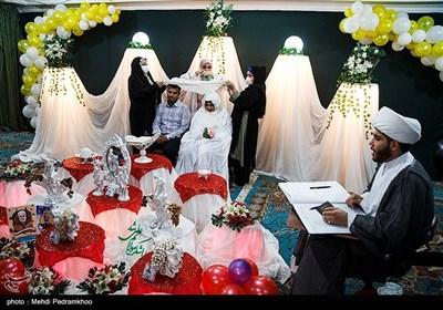 مراسم خطبه عقد ۳ زوج در مسجد الغدیر اهواز