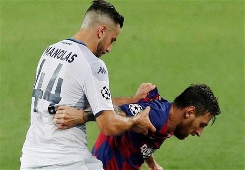 پاسخ مانولاس به شایعه خودداری مسی از دست دادن با او پس از مصاف بارسلونا و ناپولی + عکس