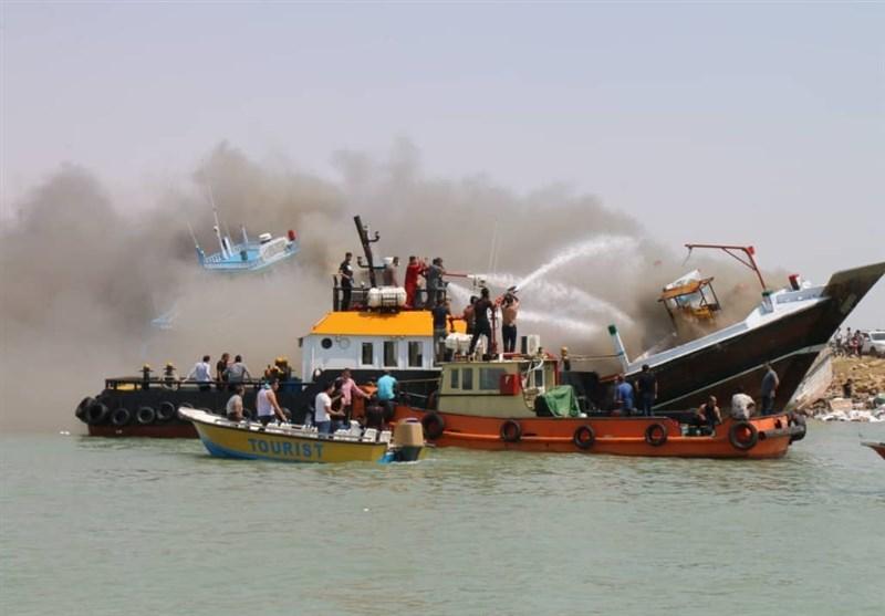 بوشهر|آتشسوزی در لنج باری خور بندر گناوه خاموش شد
