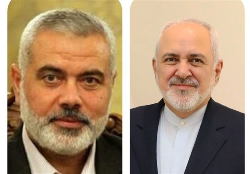 Zarif Underlines Iran's Support for Palestine in Talks with Hamas Chief