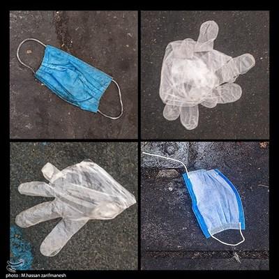 ماسک و دستکش رها شده در سطح شهر