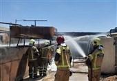 آتشسوزی مخازن حاوی روغن سوخته + فیلم و تصاویر