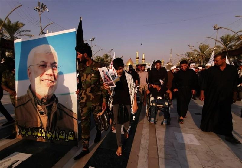 تجدید پیمان مجاهدان عراقی با شهدای مقاومت در بینالحرمین+عکس و فیلم