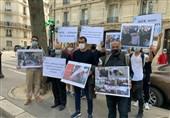 جداشدگان از منافقین مقابل سفارت آلبانی در پاریس تجمع اعتراضی برگزار کردند
