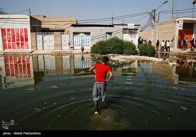 بالا آمدن فاضلاب در شهرک بسیج کوت عبدالله - خوزستان