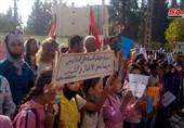 تظاهرات شهروندان سوری در اعتراض به اقدامات جنایتکارانه مزدوران آمریکا