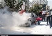آتشسوزی پژو 405 در خیابان پیروزی + فیلم و تصاویر