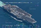 تصاویر رصد ناو هواپیمابر آمریکا در خلیج فارس توسط پهپادهای سپاه منتشر شد
