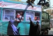 حضور کاروان نمادین اعزام رزمندگان به مناطق جنگی در کرج از قاب دوربین