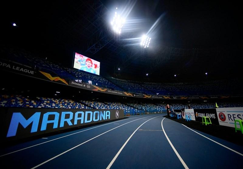 ادای احترام به مارادونا در دیدار ناپولی در لیگ اروپا
