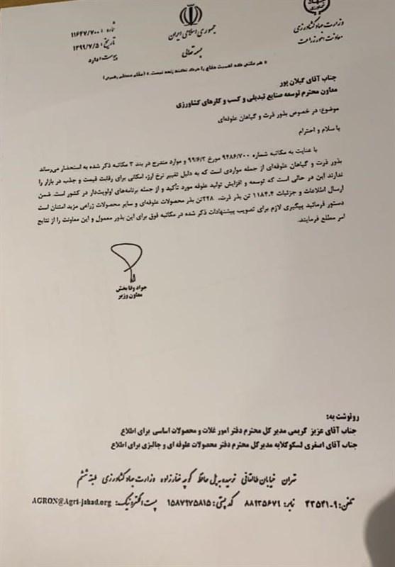 وزارت جهاد کشاورزی , بانک مرکزی , کالاهای اساسی , گمرک جمهوری اسلامی ایران , وزارت صنعت ,