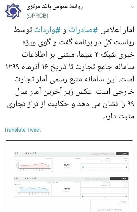 گمرک جمهوری اسلامی ایران , بانک مرکزی , تراز تجاری , صادرات ,