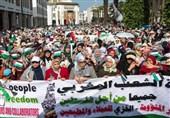 تظاهرات مردم مغرب در حمایت از فلسطین/ دفتر ارتباطات رژیم صهیونیستی در رباط تعطیل شود