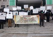 تجمع اعتراضی دانشجویان مقابل وزارت راه و شهرسازی