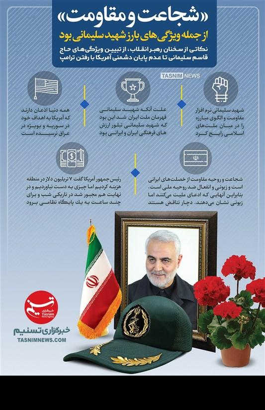 اینفوگرافیک/شجاعت و مقاومت از جمله ویژگیهای بارز شهید سلیمانی